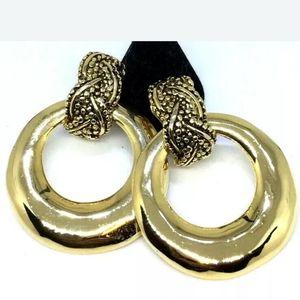 Vtg 90s Door Knocker Goldtone Clip Earrings